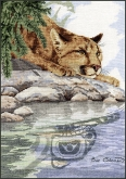 Cougar Reflection from the Stitching Studio original artwork by Sue Coleman