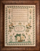 Susanna Millne 1843 Reproduction Sampler from Hands Across the Sea Samplers