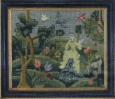 Sarah Chamberlain Needlework Picture ca. 1765 kit from Joanne Harvey ~ Examplarery
