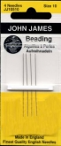 John James Beading Long Needles #10, #12, #13, #15, or #10/13 ~ pkg of 4
