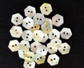 Mini-Hexagon Mother of Pearl Buttons from Kelmscott Designs ~ pkg of 70