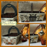 Halloween Days Sewing Basket ~ includes handle & button from Mani di Donna