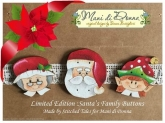 Santa's Family Buttons ~ Limited Edition buttons from Mani di Donna ~ 2 only!