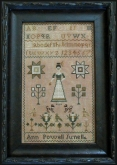 Ann Powell ~ Antique Reproduction Sampler from Pineberry Lane