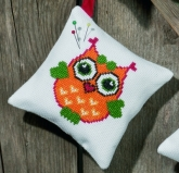 Orange Owl Pincushion kit from Permin