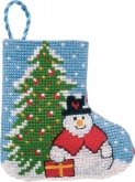 Tree & Snowman Stocking ornament from Permin
