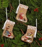 Gingerbread Mini Stocking Ornaments from the Victoria Sampler